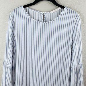 Zara | Women's Bell Sleeve Stripe Blouse XL